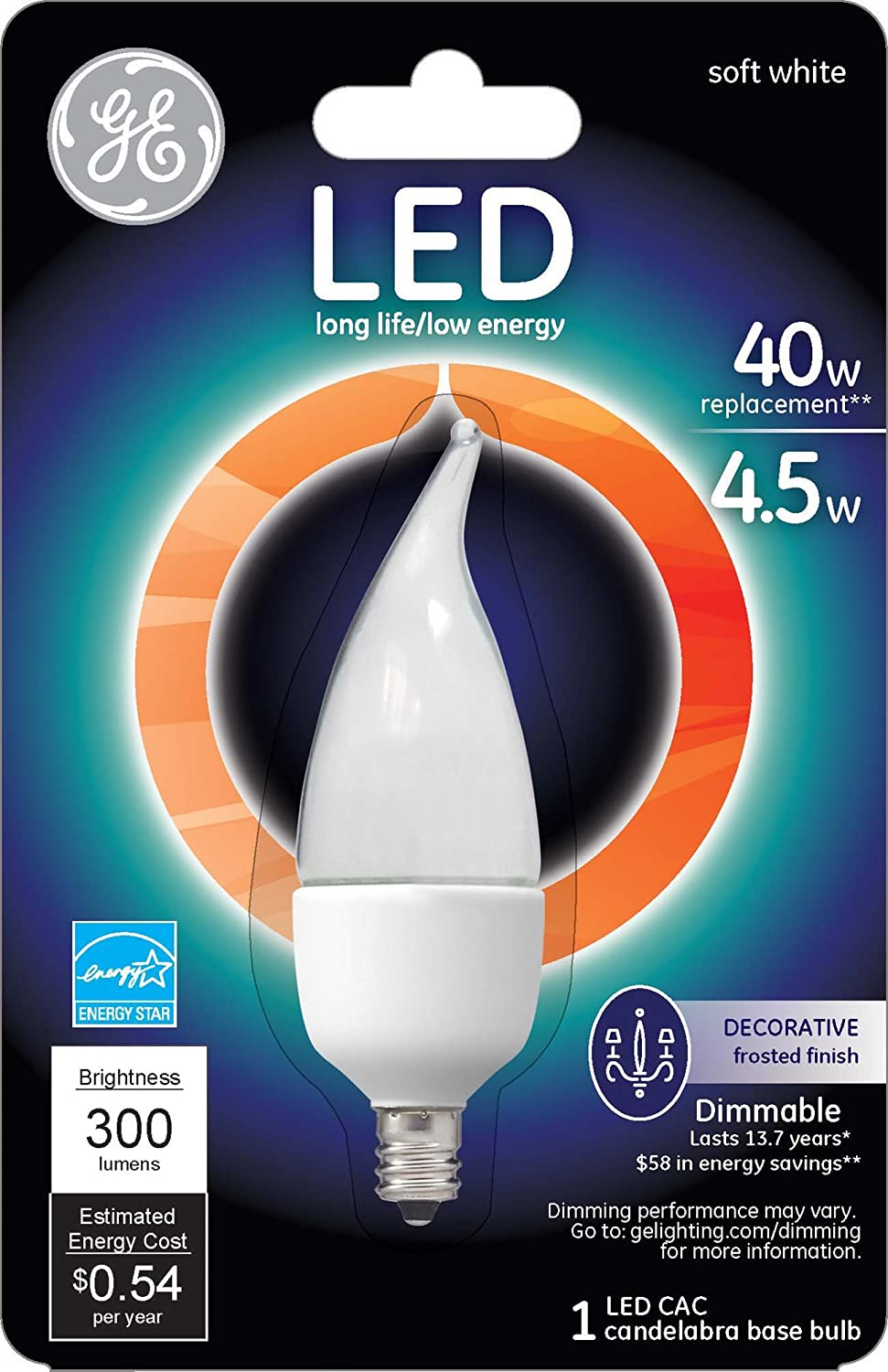 Amazon ge lighting 89948 energy smart led 45 watt 300 lumen amazon ge lighting 89948 energy smart led 45 watt 300 lumen bent tip bulb with candelabra base frosted 1 pack home improvement arubaitofo Image collections