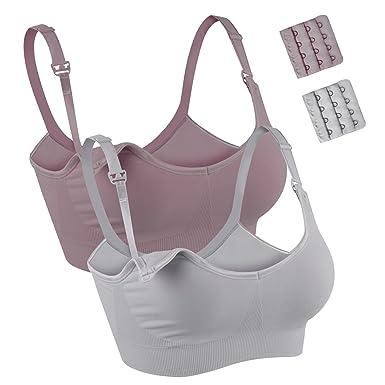 4872e8837 JOYNCLEON Seamless Maternity Nursing Bra for Women Breastfeeding Wireless Sleep  Bra Full Cup with Extra Bra