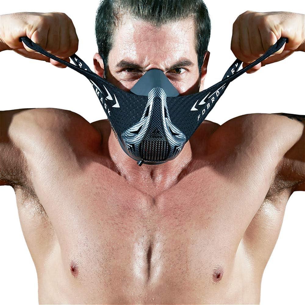 FDBRO Máscaras máscaras de Deportes, Estilo Negro, máscara;scara para Entrenamiento y acondicionamiento de Gran altitud, máscara scara Deportiva 2.0