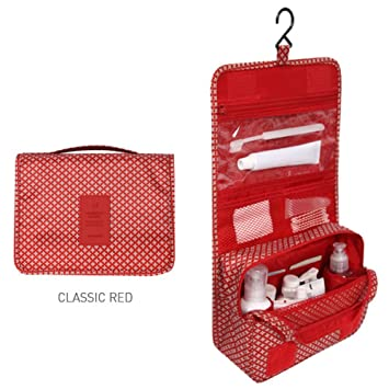 36acea034885 Diniwell Pattern Travel Hanging Toiletry Pouch Bag (Classic Red)