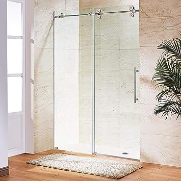 Puerta de ducha corredera de cristal sin marco, acero inoxidable, 69 mm, acabado espejo: Amazon.es: Bricolaje y herramientas