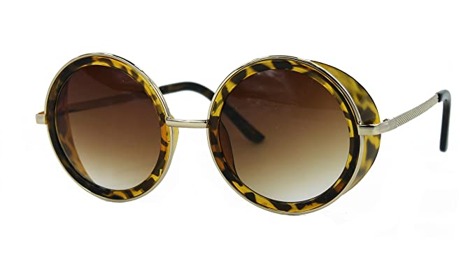 f0858734e4 Trendy Round Side Visor Oversized Circle Lens Women s Fashion Sunglasses  (Tortoise Gold Brown)