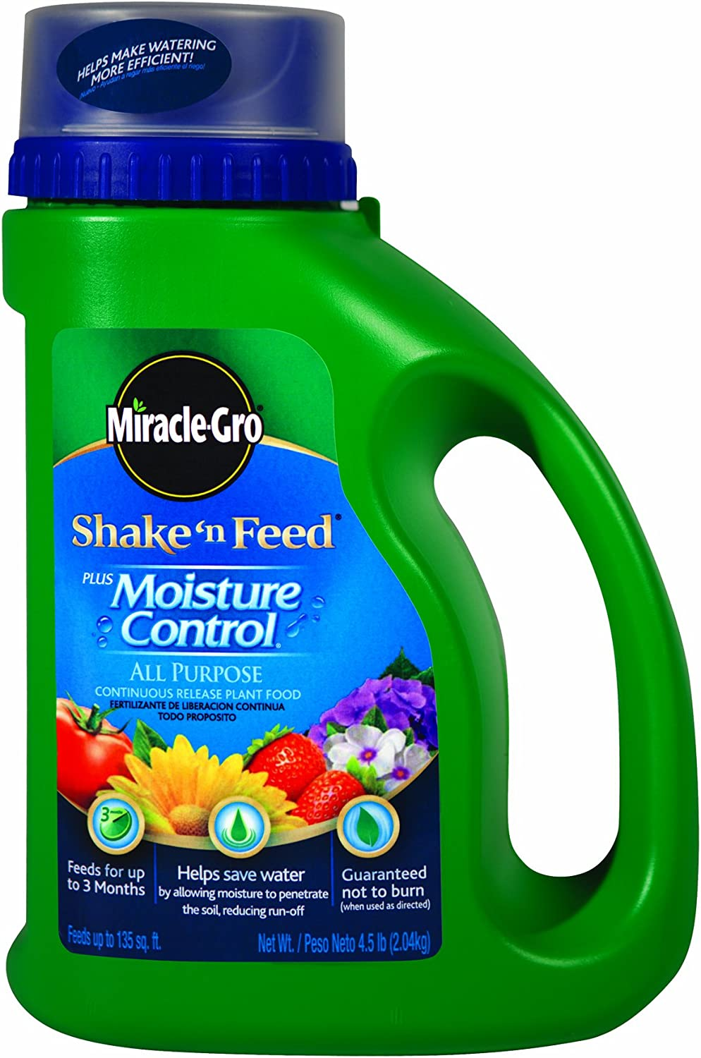 Miracle-Gro 100923 Shake 'n Feed All Purpose Continuous Release Plant Food Plus Moisture Control, 4.5-Pound (Slow Release Plant Fertilizer)
