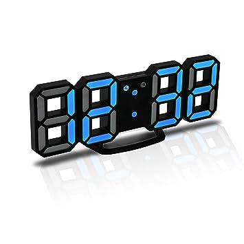 JCH Reloj Despertador Digital 3D LED, Reloj de Pared, Reloj Digital, Temporizador,
