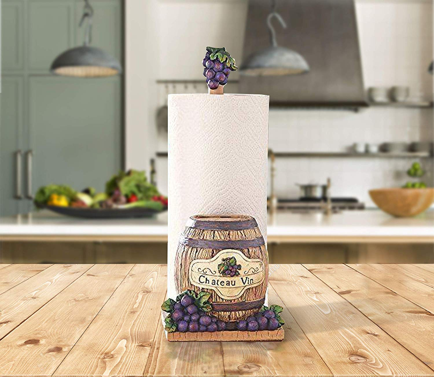 Decorate Your Kitchen With An Elegant Hand Painted Paper Towel Holder (Wine Theme With Barrel)