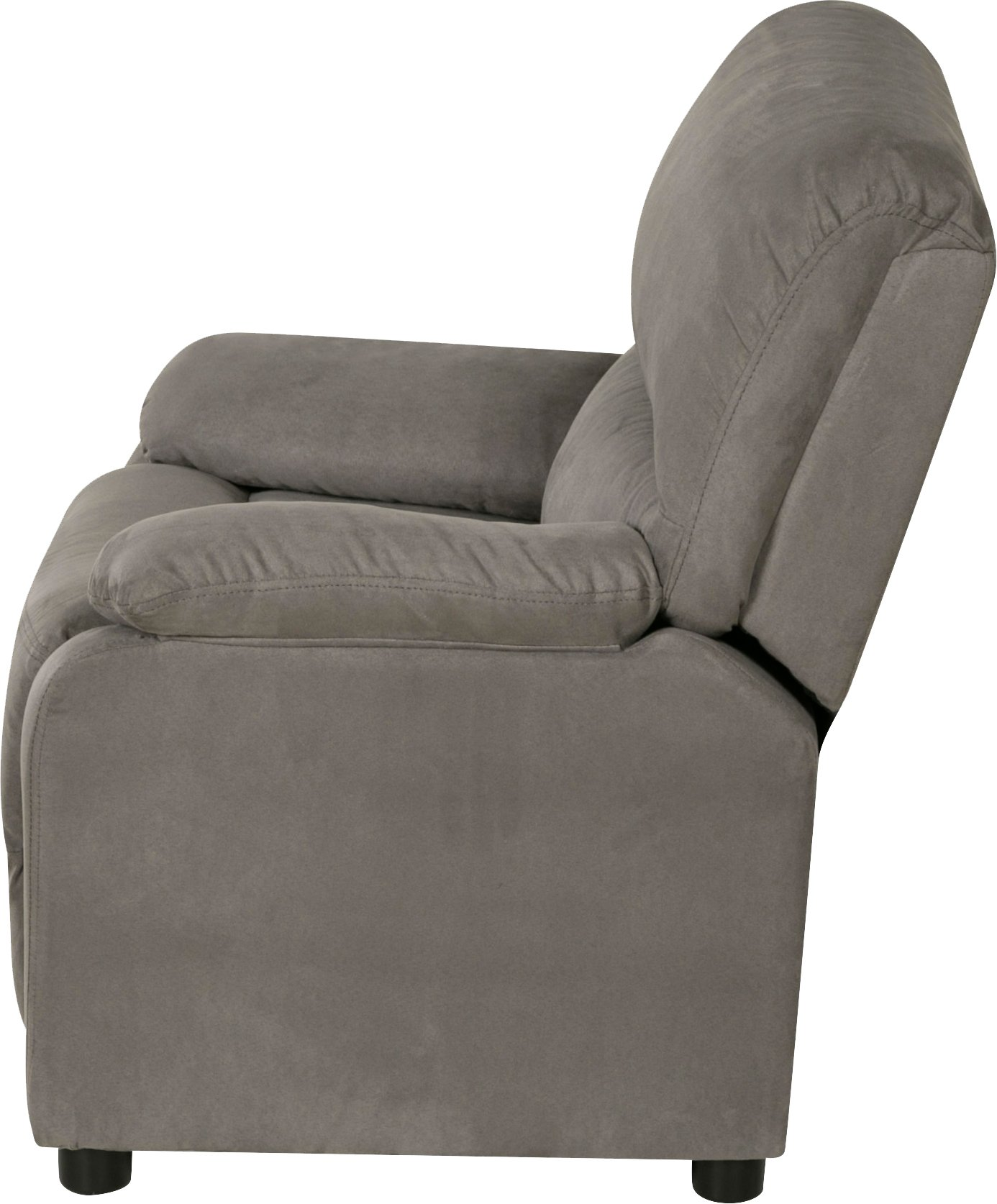 Relaxzen 60-7101KU04 Youth Recliner with Storage Arms and Dual USB, Gray