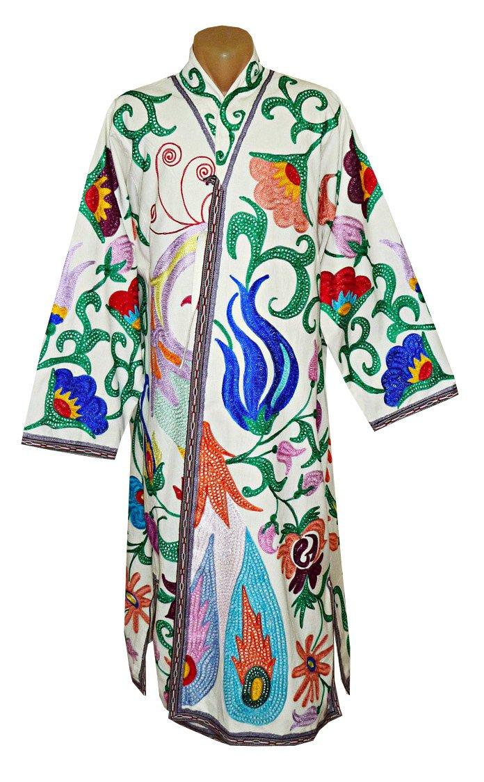Uzbek traditional Bukhara outwear costume kaftan caftan robe jacket coat unisex silk embroidery suzani stunning bird B1387