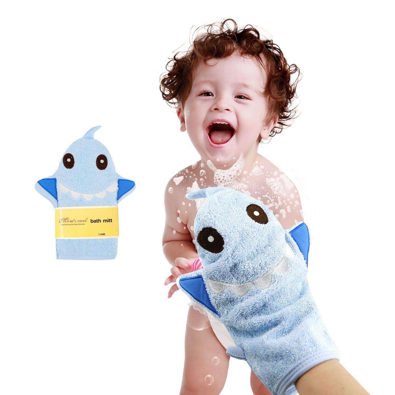 Baby Bath Mitt Shark Puppet Washcloths Kids Wash Gloves Bath Sponge Body Scrub for Toddler