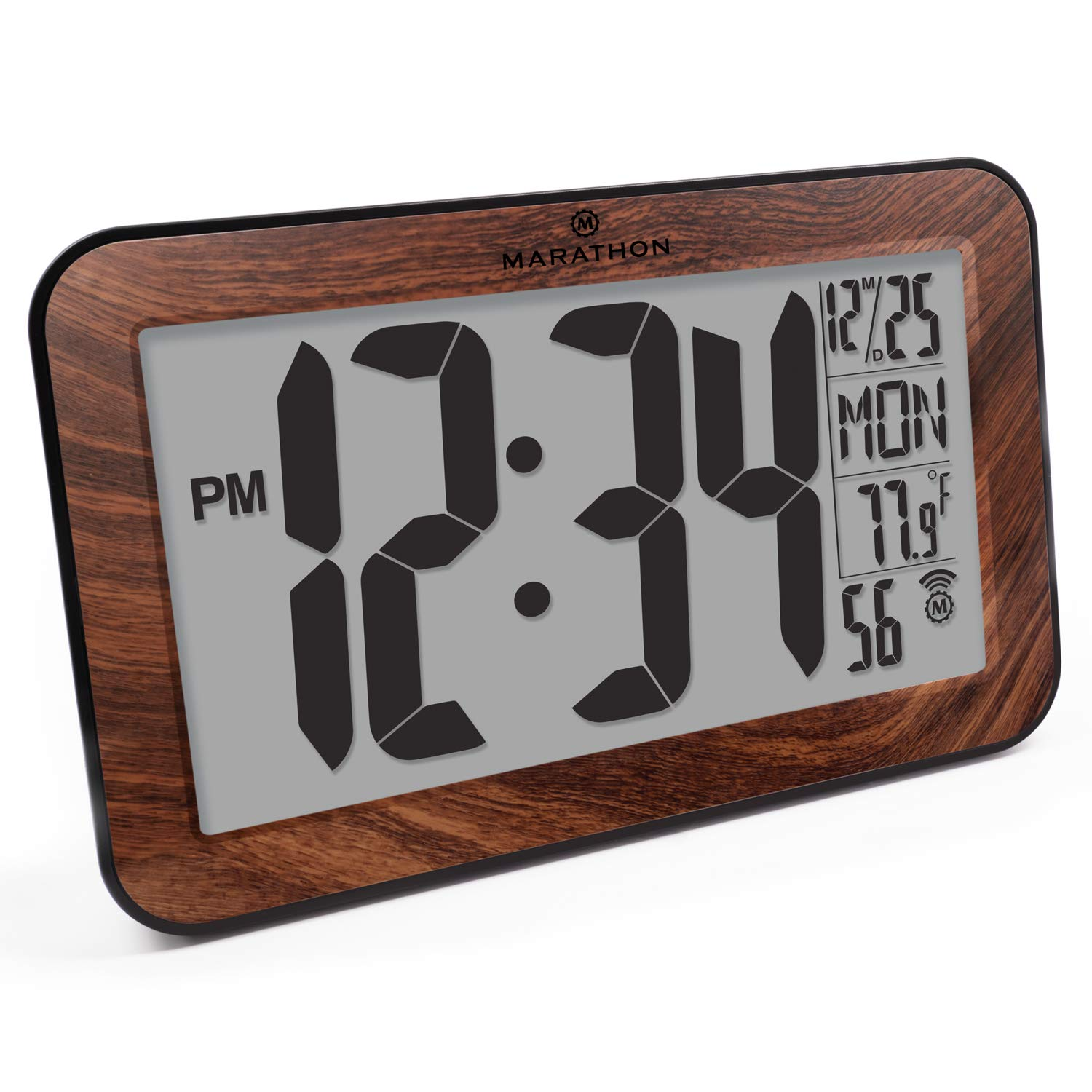 Marathon CL030033WD Commercial Grade Panoramic Atomic Wall Clock with Table Stand - Batteries Included, Color-Wood Tone.
