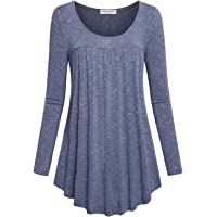 Faddare Women's Floral Print Shirts Pleated Flowy Tunic Top