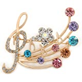 Avalaya Gold Plated Multicoloured Crystal Musical Notes Brooch - 45mm L VGoE7