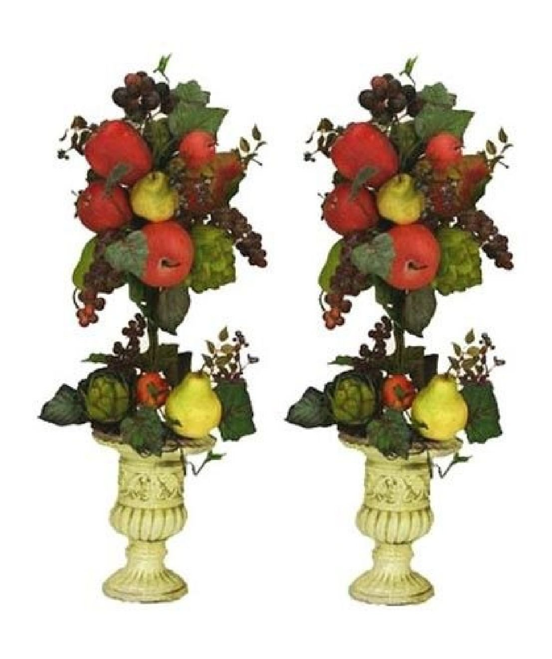 TWO 27'' Artificial Mixed Fruit Topiary Pre-potted by Black Decor Home