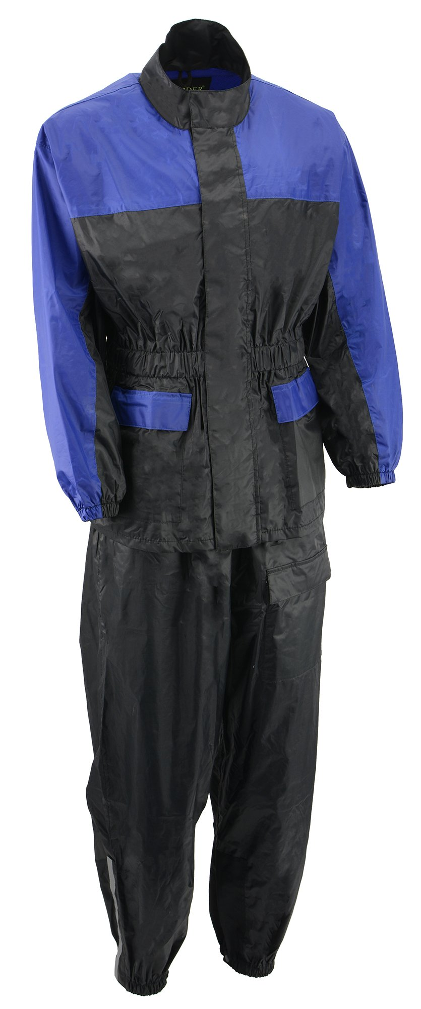 M-BOSS MOTORCYCLE APPAREL-BOS19500-BLK/BLU-Men's two piece motorcycle rain gear.-BLK/BLU-MEDIUM
