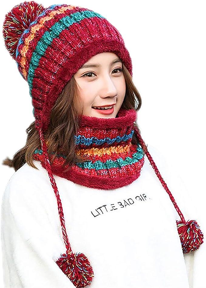 Women/'s Teens Knit Peruvian Beanie Hat Winter Warm Soft Fuzzy Cap With Earflap