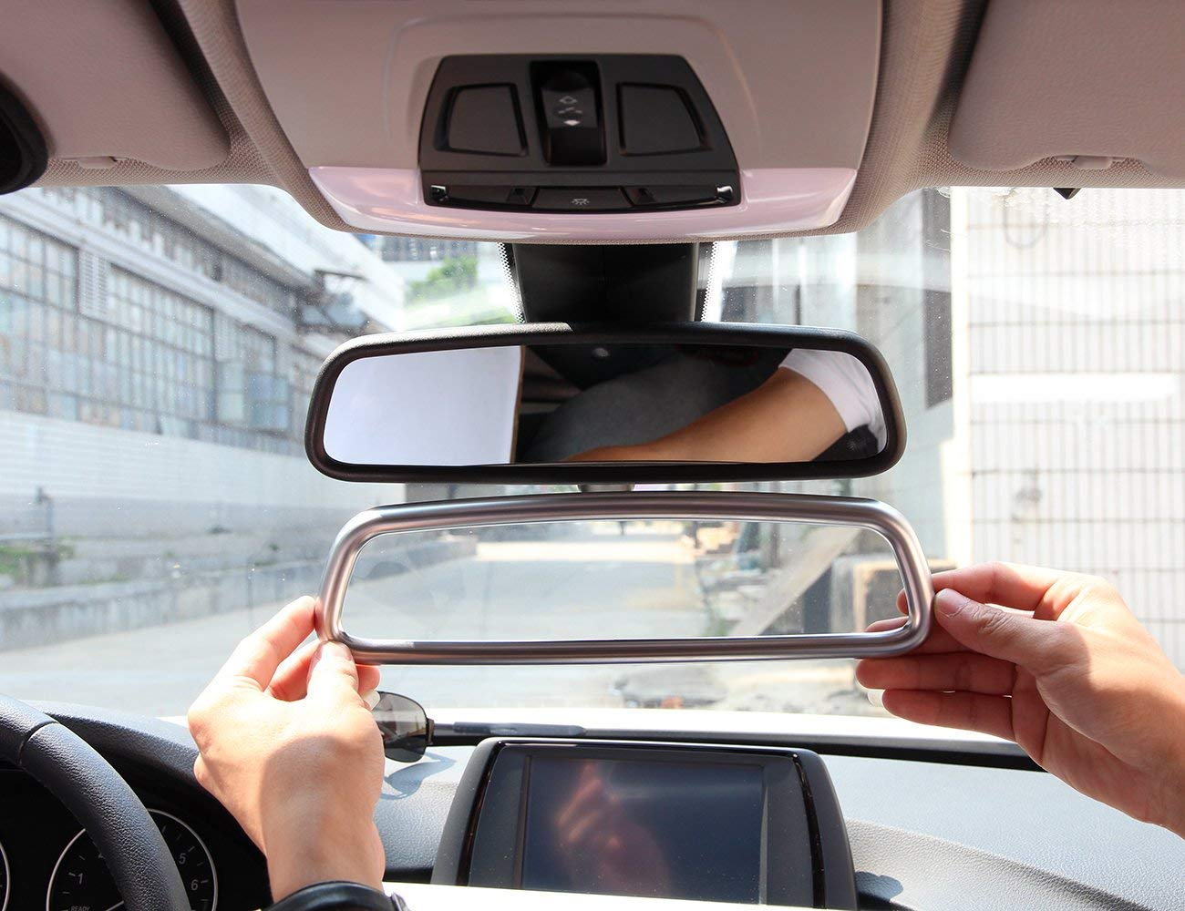 Cromado AUTO Pro para Land Rover//BMW//Jaguar//Mercedes-Benz Cubierta de Espejo retrovisor Interior Accesorios para Interior de Coche ABS