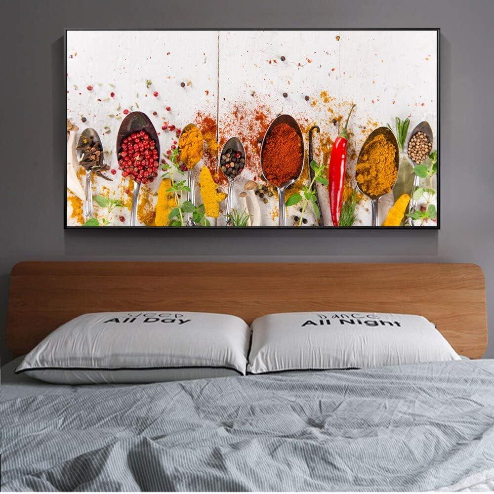YuanMinglu Tipos de Especias Lienzo Pintura Especias Murales Modernos Sala de Estar Murales de Cocina Pinturas Decorativas Carteles e Impresiones Pintura sin marco60x120cm: Amazon.es: Hogar