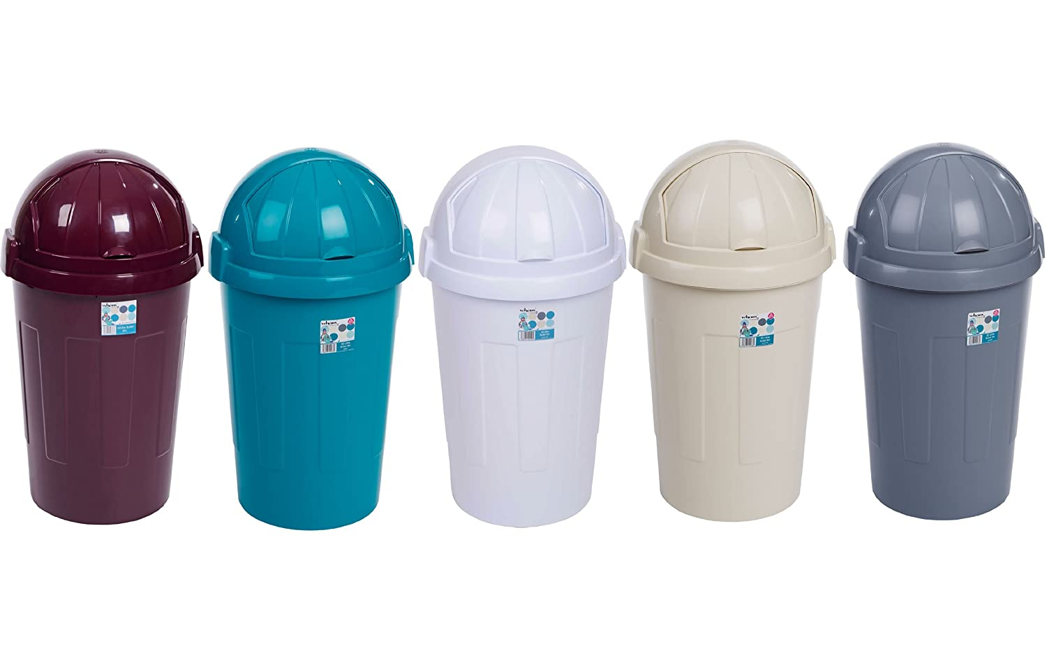 50 Litre Plastic Bullet Bin Calico / Cream - Kitchen / Office Bin ...