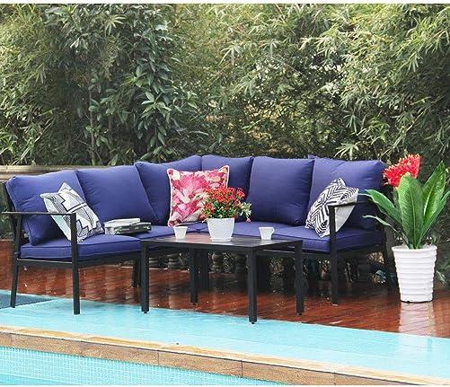 PHI VILLA 4 Piece Outdoor Metal Sectional Sofa Set