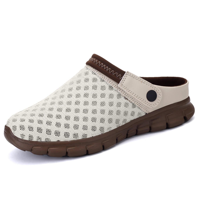BARKOR Garden Shoes Mens Womens Clogs Summer Mesh Sandals Outdoor Unisex Water Shoes Beige-38
