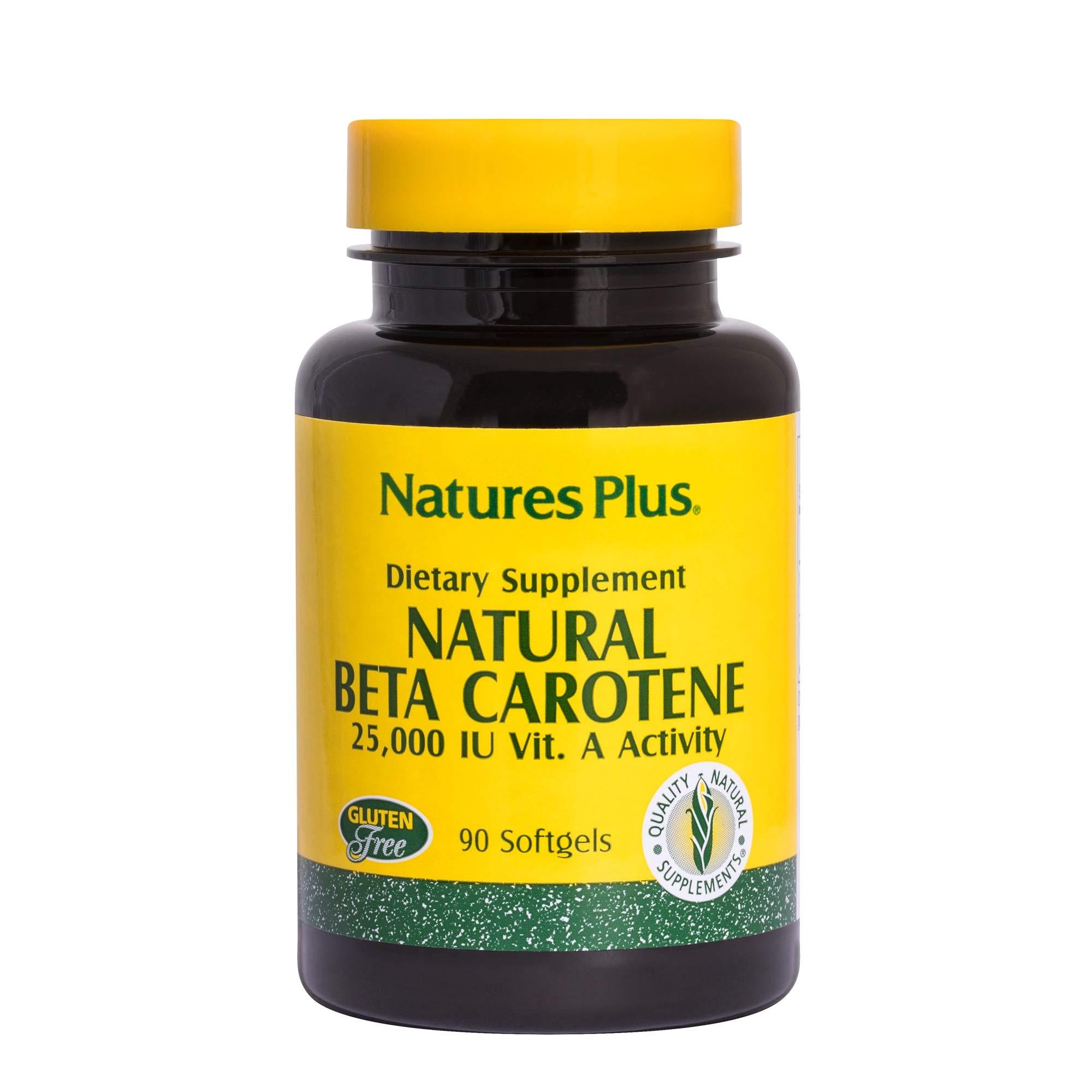 Natures Plus Natural Beta Carotene - 25,000 IU Vitamin A & Vitamin E, 90 Softgels - Eye Supplement, Antioxidant, Aids in Free Radical & Natural Cellular Defense - Gluten Free - 90 Servings