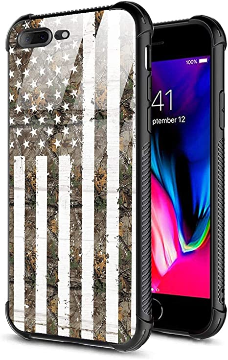 Amazon Com Iphone 8 Plus Case Iphone 7 Plus Case 9h Tempered Glass Back Cover For Boy Men Tpu Shock Absorption Bumper Protective Case Compatible For Iphone 7 8 Plus American Flag Camo