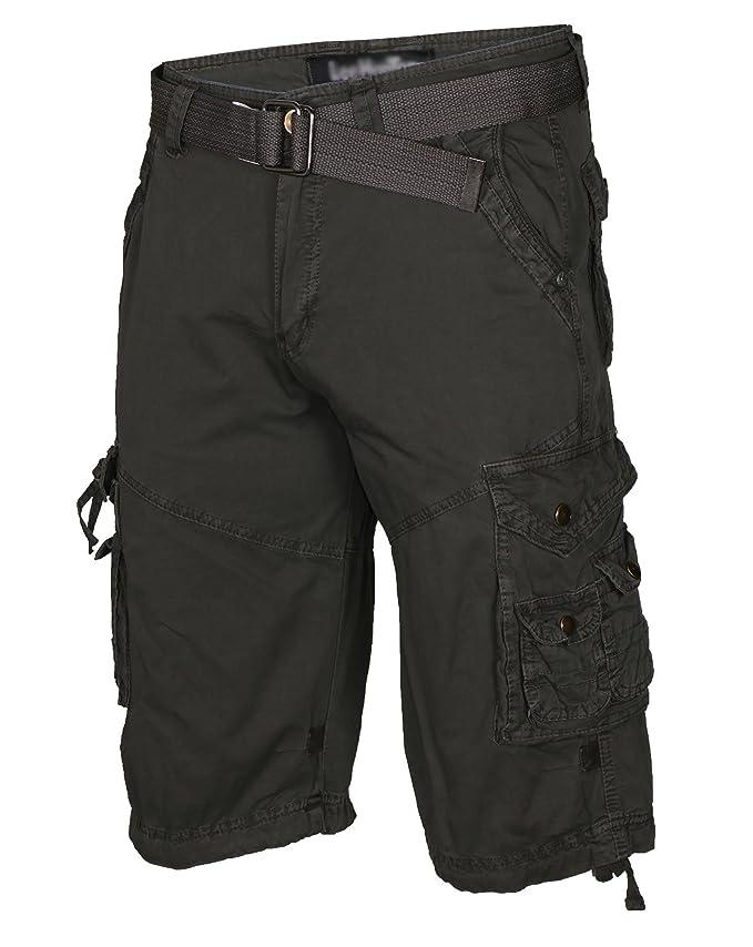 88b682669e 9 Crowns Essentials Slim Fit Men's Cotton Twill Belted Cargo Shorts