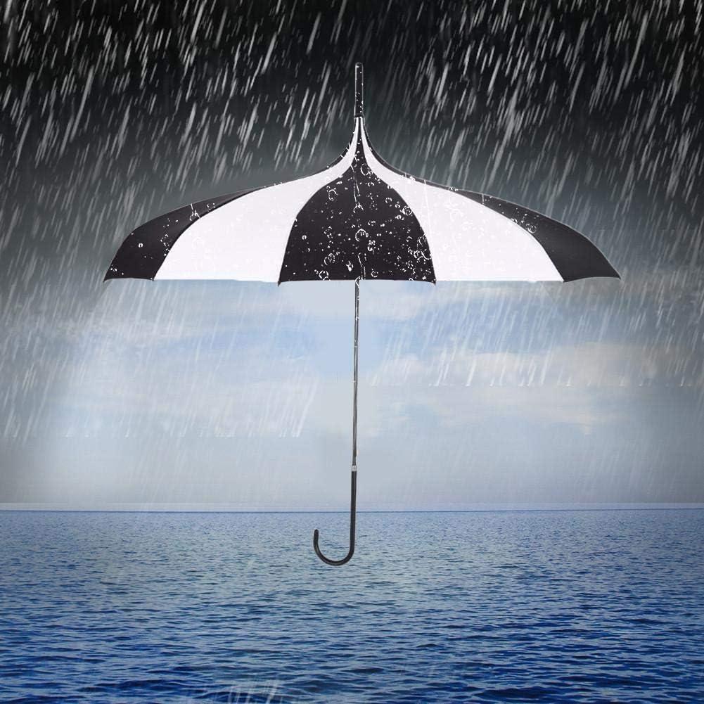 Coupe-Vent et imperm/éable avec poign/ée J-Hake pour Femmes Welcometo Parapluie Noir//Blanc//pagode Style Gothique