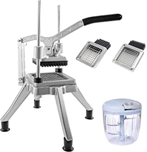BotaBay Commercial Vegetable Fruit Chopper 1/4?&3/8? Blade Heavy Duty Professional Food Dicer Kattex French Fry Cutter Onion Slicer Stainless Steel For Tomato Peppers Potato Mushroom, Silver