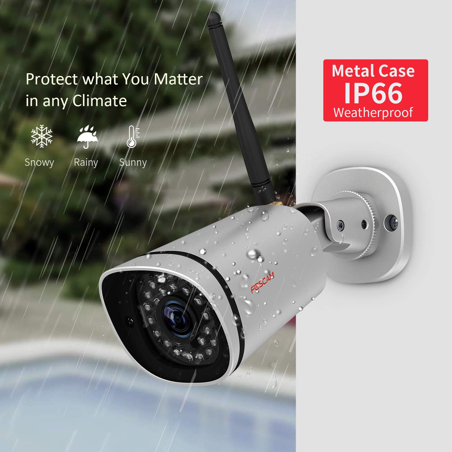 Foscam HD 1080P Outdoor WiFi Security Camera – Weatherproof IP66 Bullet /  2 1MP IP Wireless Surveillance Camera System with iOS/Android App, Night