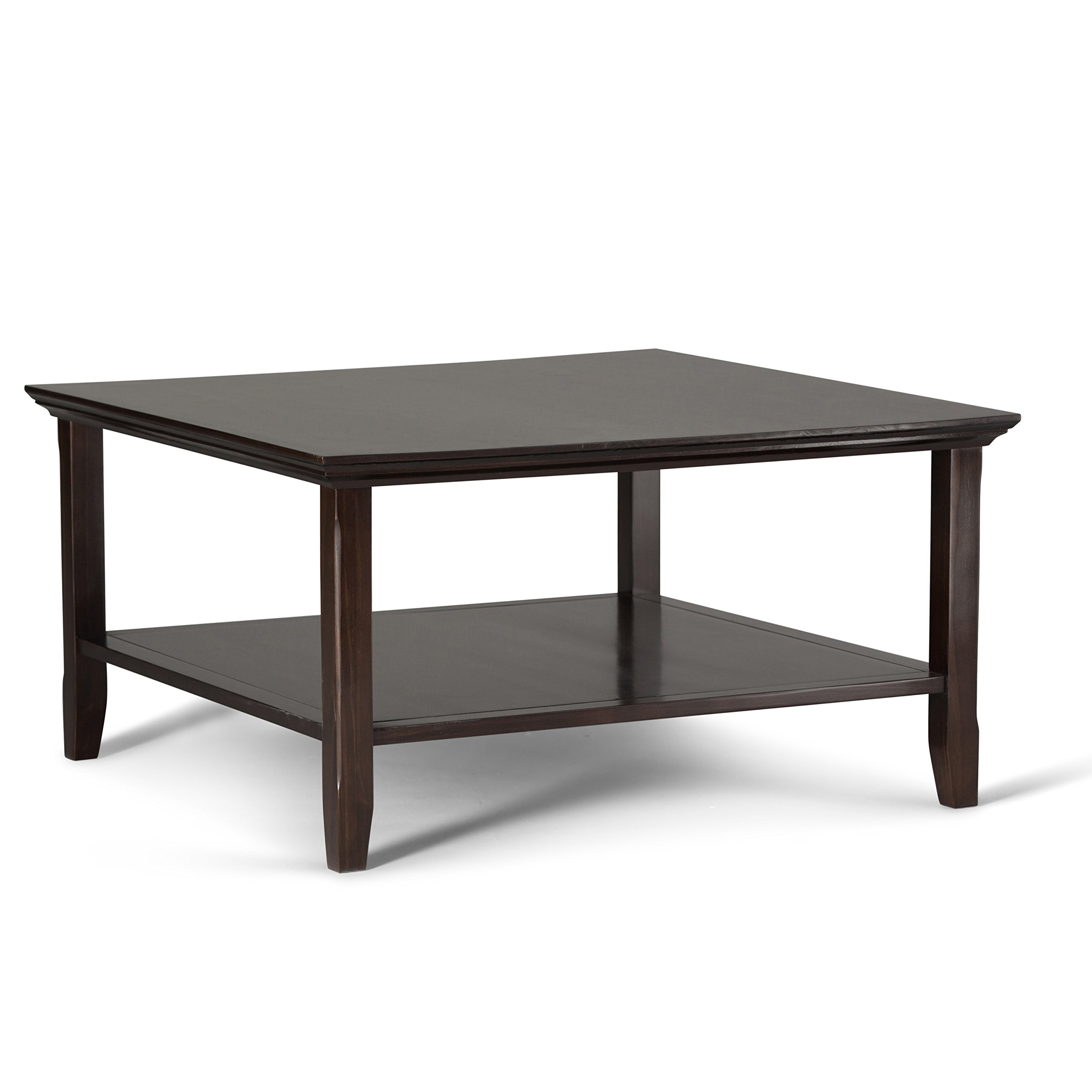 Simpli Home Acadian Square Coffee Table, Tobacco Brown