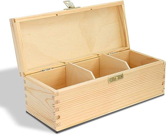 AJW Bpw Caja de té de Madera con 3 Compartimentos, para té o Cocina, Compatible con Bolsa de té Twinings - H3: Amazon.es: Hogar
