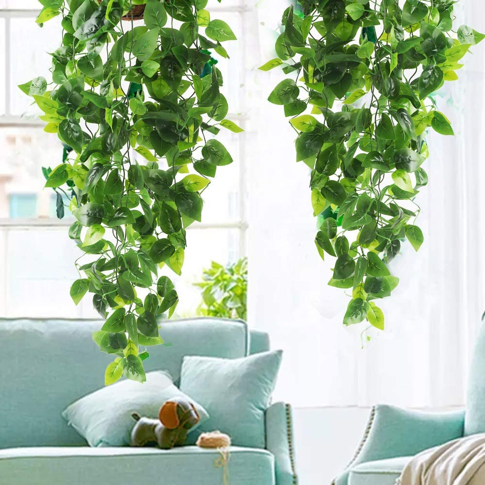 Cewor 2pcs Artificial Hanging Plants 3 6ft Fake Ivy Vine Fake Ivy Leaves For Wall Home Room Garden Wedding Garland Outside Decoration Formtech Inc Com