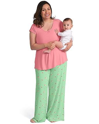 51c7a2bb56c15 Kindred Bravely Amelia Ultra Soft Maternity   Nursing Pajamas - Pants Set  (Flamingo