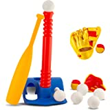 Tee-Ball Sport Set - 6 Balls and 1 Soft Ball with Bat & Glove to Develop Baseball & Softball Skills - Primary Color Set for K