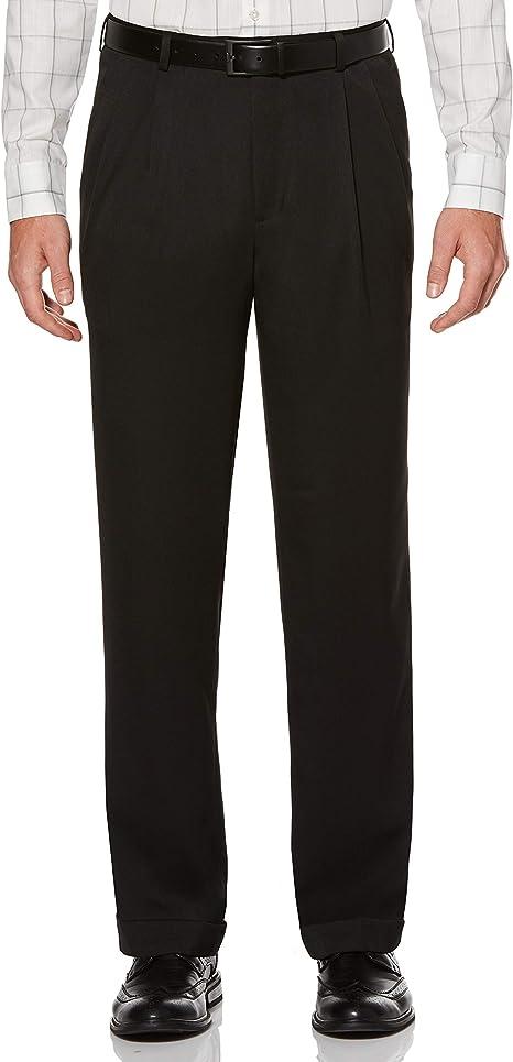 $205 PERRY ELLIS PORTFOLIO men BLACK FIT PLEATED FRONT DRESS PANTS 34 W 29 L