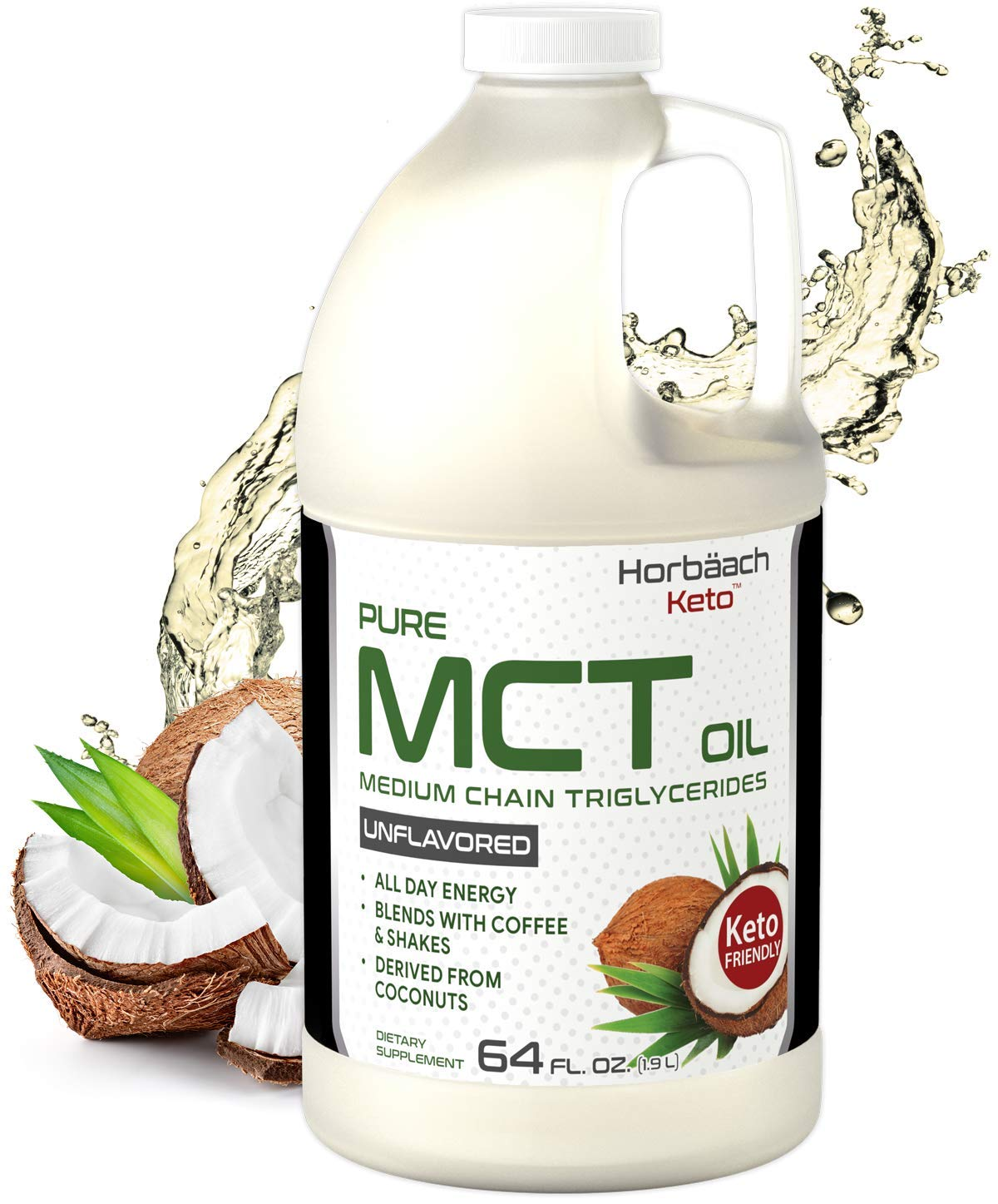 Keto MCT Oil 64 oz   Huge Size & Unflavored  Blends with Coffee, Tea, and Juice Drinks   100% Pure   Vegetarian & Non-GMO   by Horbaach