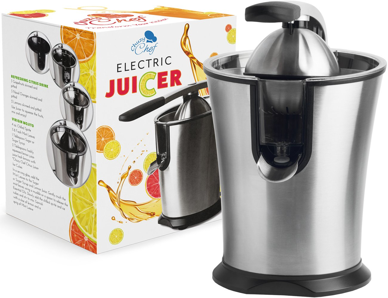 Electric Citrus Juicer Stainless Steel - Compact Lemon, Lime or Orange Squeezer Juice Maker Extractor Machine Witch Anti-drip Citrus Press & Extra Quiet 160 Watt Motor For Making Perfect Citrus Juices