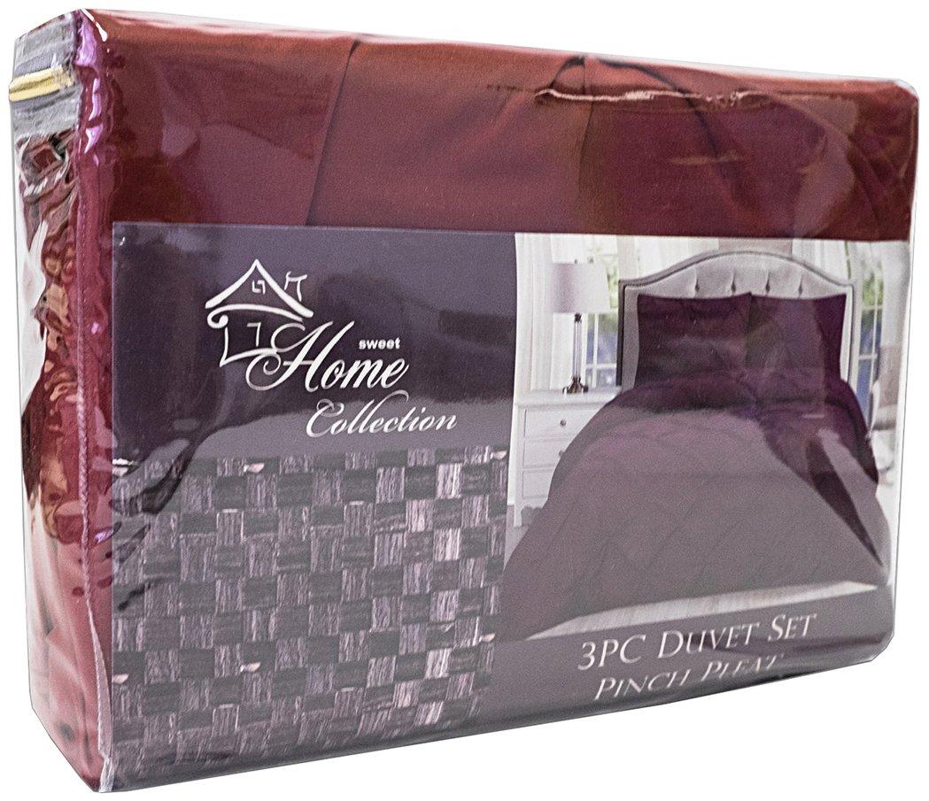 Sweet Home Collection 3 Piece Luxury Pinch Pleat Pintuck Fashion Duvet Set, King, Burgundy