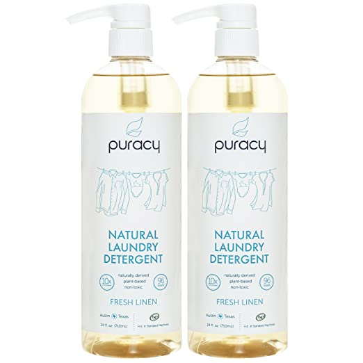 Puracy Liquid Laundry Detergent [192 Loads], Plant-Based for Sensitive Skin, Fresh Linen, 24 Ounce