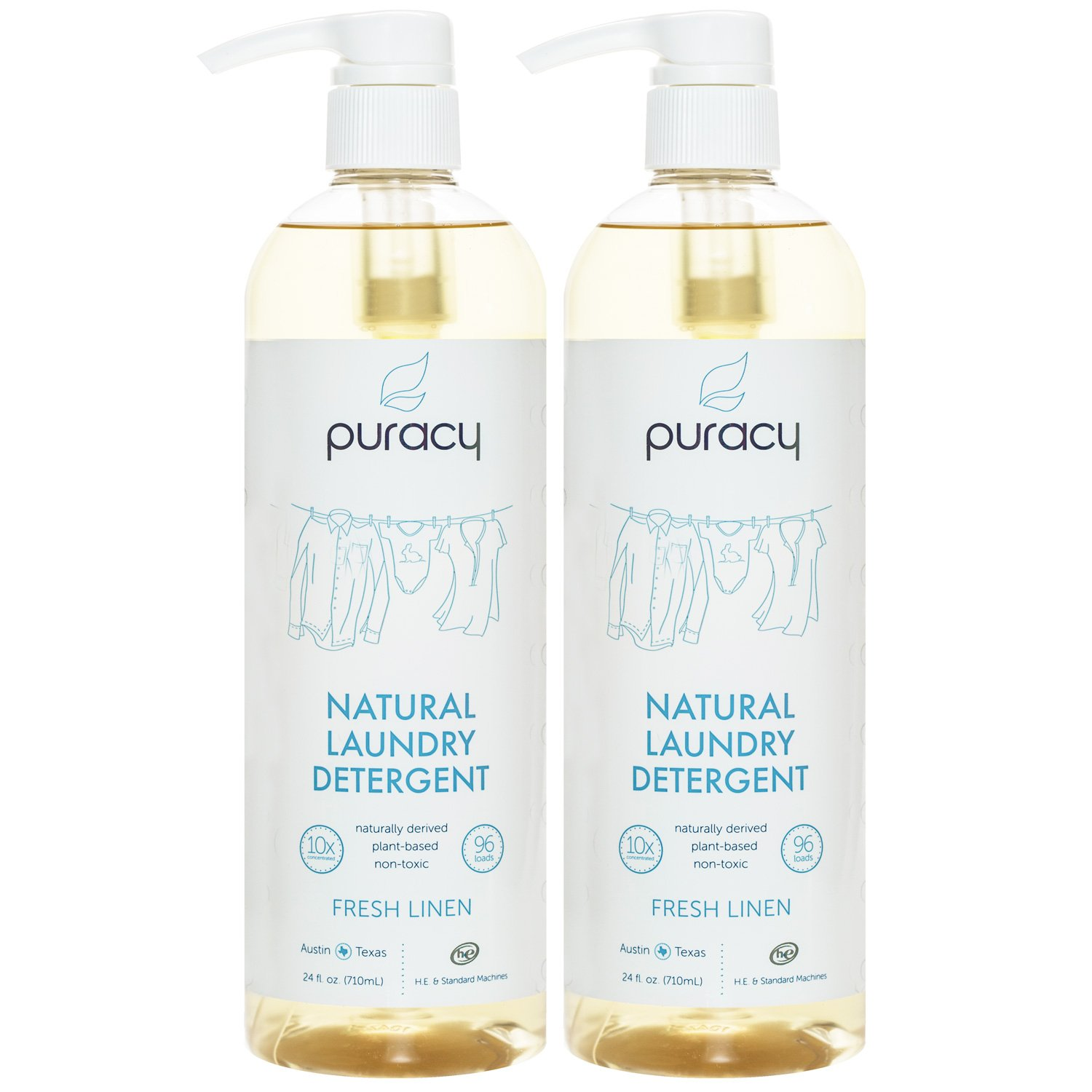 Puracy Natural Liquid Laundry Detergent [192 Loads], Sulfate-Free, Hypoallergenic Clothing Soap, Powered by Plant-Based Enzymes, Fresh Linen, [Set of 2 Pump Bottles]