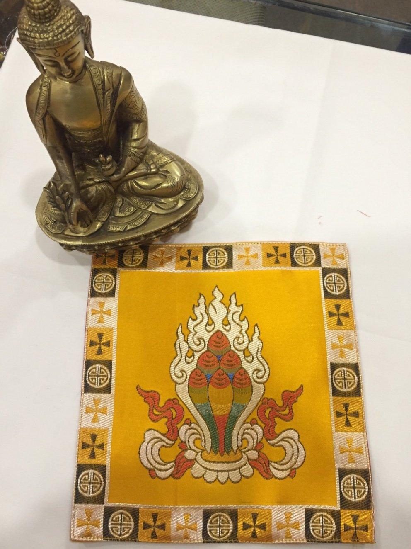 チベット仏教 シルク ブロケード イエロー ノルブ/貴重なジュエリー プレースマット/テーブルカバー/アルタークロス   B07BSKC3DW