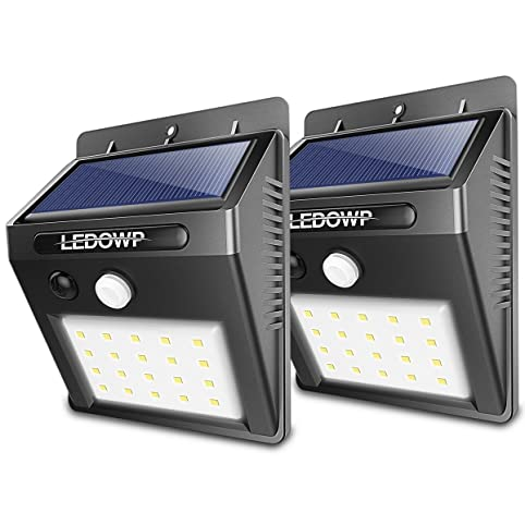 Solar Lights Outdoor 20 LEDs, LEDOWP Super Bright Motion Sensor Lights With  Wide Angle Illumination