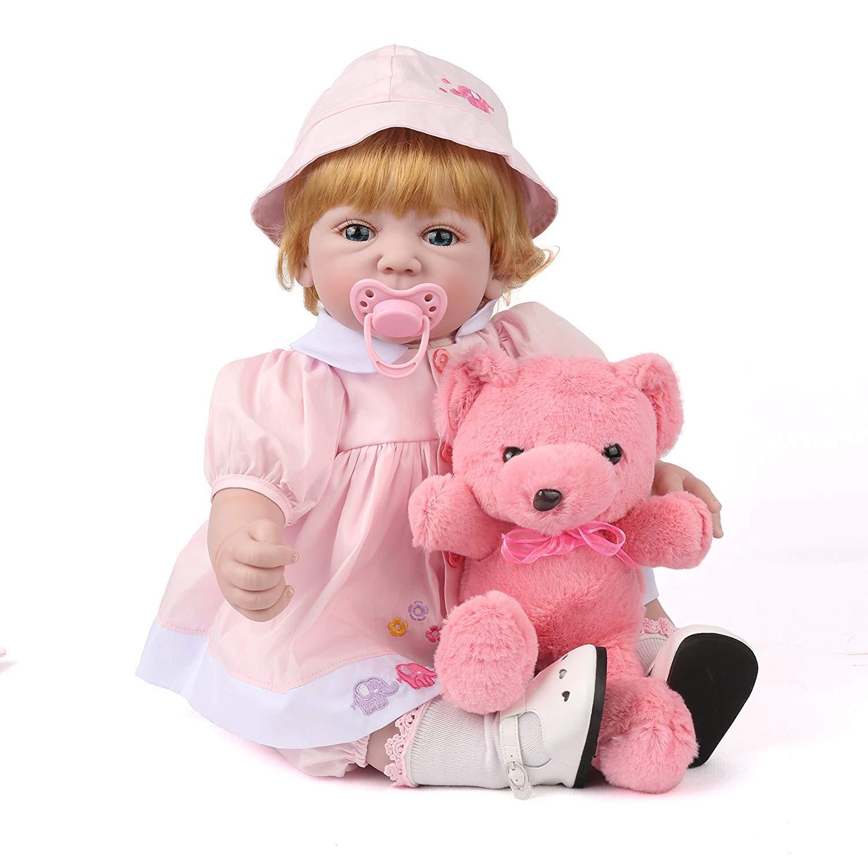 kaydora Rebornベビー人形22インチ加重ベビーガールズソフトBody人形with a cute Bear   B07BLTP9RZ