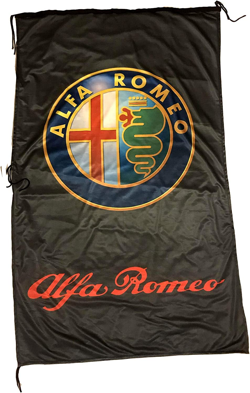 AL-FA Romeo Vertical 3D Black Flag Banner 3 X 5 ft