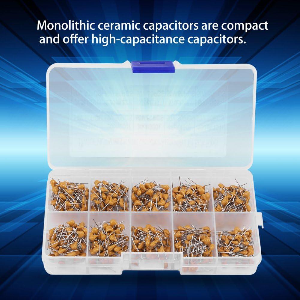 Riuty Capacitor,500pcs Electronic Capacitor 10 Values 50V 10PF-680PF Monolithic Ceramic Capacitor Assorted Kit