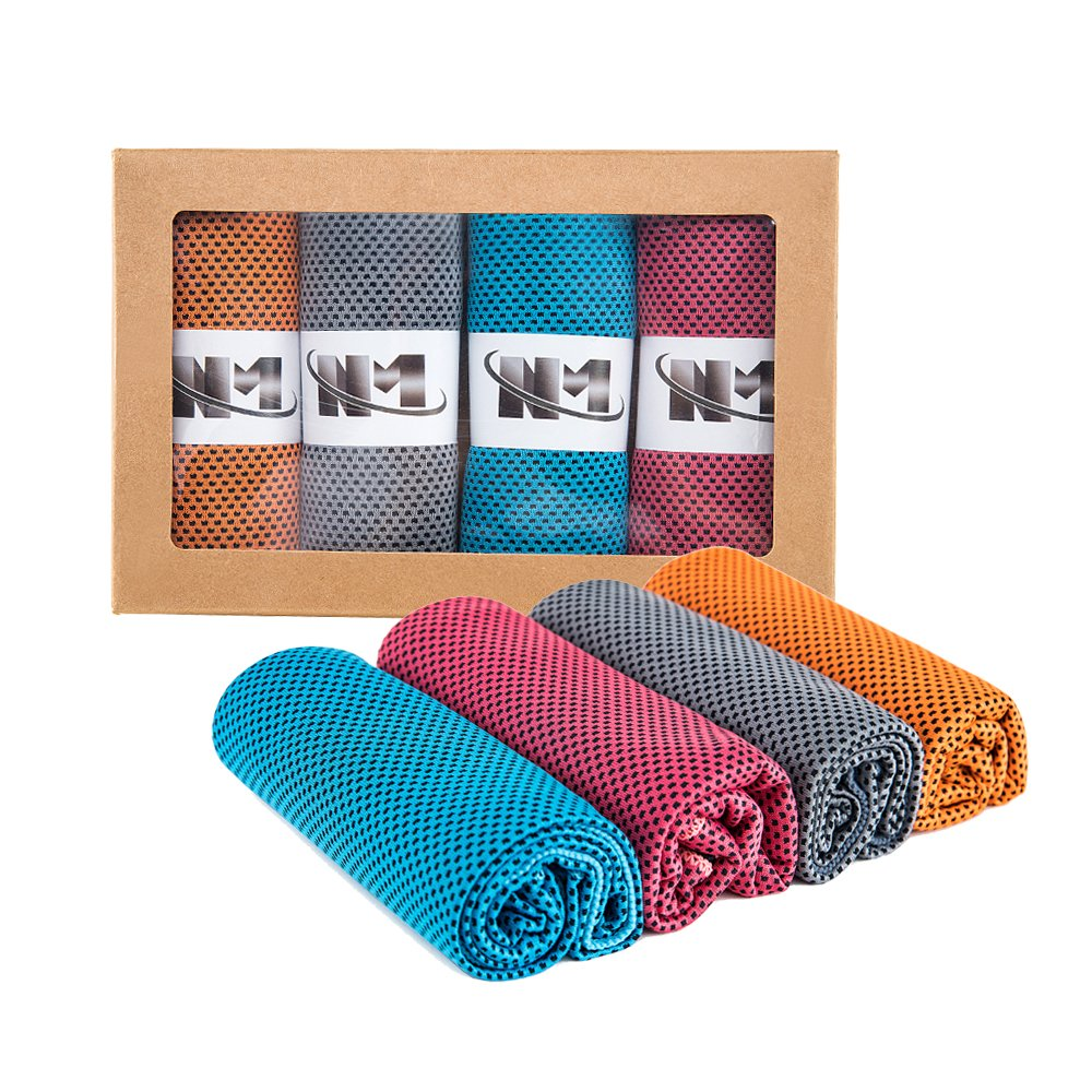 Namay Cooling Towel Instant Relief, Chilly Neck Wrap, Ice Cold Scarf -Set of 4 Fitness,Yoga, Running Other Outdoor Activities
