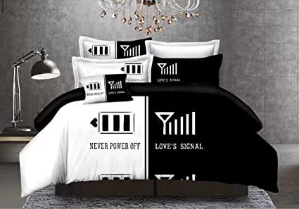 amazon com cocoqueen black and white 3pcs duvet cover set his and