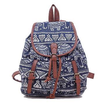 b59ea9d1e88a0 Leefrei casual Canvas Damen Herren Rucksack Daypack Backpacks  Freizeitrucksack Schulrucksack Schultasche (Elefant Blau)