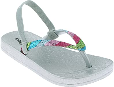 e47e8dd7cd1b Capelli New York Toddler Girls Jelly Flip Flip Flops with Multi Colored  Crunchy Glitter Trim and