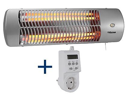 Halógeno Estufa + conector Termostato Adecuado para estancias húmedas, hasta 1200 W, cambiador calefactor